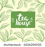 vector background with tea leaf.... | Shutterstock .eps vector #1026204520