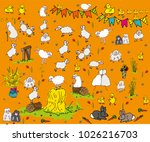 spring lambs and chicks hand... | Shutterstock .eps vector #1026216703