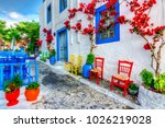 beautiful street view in kos... | Shutterstock . vector #1026219028