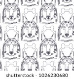 dog vector seamless pattern... | Shutterstock .eps vector #1026230680
