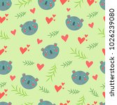 amazing pattern with koala in... | Shutterstock .eps vector #1026239080