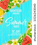 beautiful flyer for summer party | Shutterstock .eps vector #1026243040