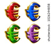 set of shiny golden euro icons... | Shutterstock .eps vector #1026244858