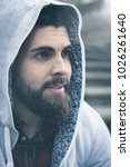 close up on full beard young... | Shutterstock . vector #1026261640