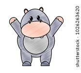 grated adorable hippopotamus... | Shutterstock .eps vector #1026263620