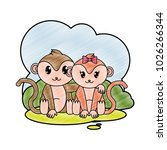 grated monkey couple cute... | Shutterstock .eps vector #1026266344