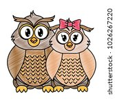grated owl couple cute animal... | Shutterstock .eps vector #1026267220