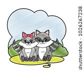 grated raccoon couple cute... | Shutterstock .eps vector #1026267238