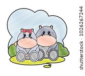 grated hippopotamus couple cute ... | Shutterstock .eps vector #1026267244