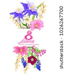 bouquet of spring flowers for 8 ... | Shutterstock .eps vector #1026267700