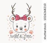cute little bear girl with deer ...   Shutterstock .eps vector #1026268210