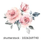 Stock photo decorative watercolor flowers floral illustration leaf and buds botanic composition for wedding 1026269740