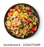 noodles with meat and... | Shutterstock . vector #1026270289