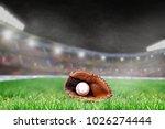 baseball glove and ball on... | Shutterstock . vector #1026274444