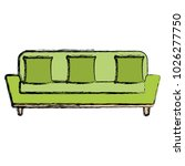 comfortable sofa with pillow | Shutterstock .eps vector #1026277750