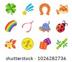 Stock vector lucky charm icons 1026282736