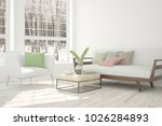 white room with sofa and winter ... | Shutterstock . vector #1026284893