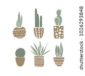 set of cactuses. hand drawn... | Shutterstock .eps vector #1026293848