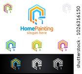 home painting vector logo design | Shutterstock .eps vector #1026316150
