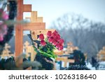 crosses in the cemetery  the... | Shutterstock . vector #1026318640