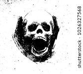 black and white grunge skull... | Shutterstock .eps vector #1026327568