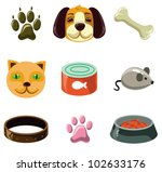 Stock vector cat and dog with toys and food vector illustration set 102633176