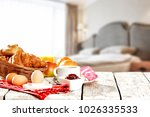 breakfast in bed in a beautiful ... | Shutterstock . vector #1026335533