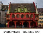 Small photo of Freiburg, Germany - January 2018: Beautiful building of the old historical burse on the market square in Freiburg in South Germany