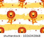 seamless pattern with cute lion ...