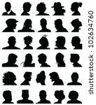 set of silhouettes of heads 9... | Shutterstock .eps vector #102634760
