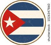 vintage metal sign   round cuba ... | Shutterstock .eps vector #1026347860