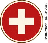 vintage metal sign   round... | Shutterstock .eps vector #1026347908