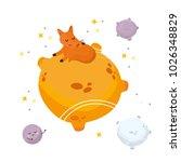 fox in galaxy. nursery poster...   Shutterstock .eps vector #1026348829