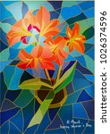 greeting card lily stained... | Shutterstock .eps vector #1026374596