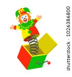 jester pops out a box. surprise ... | Shutterstock .eps vector #1026386800