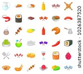 ethnic cuisine icons set.... | Shutterstock .eps vector #1026387520