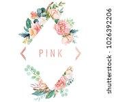 watercolor floral illustration  ... | Shutterstock . vector #1026392206
