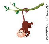 cute monkey hanging from a tree | Shutterstock .eps vector #1026396286