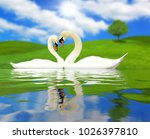 love swans countryside | Shutterstock . vector #1026397810