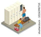 isometric interior of a locker...   Shutterstock .eps vector #1026398710