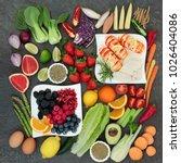 diet super food concept with... | Shutterstock . vector #1026404086