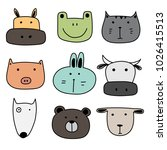 set of cute animal. hand drawn... | Shutterstock .eps vector #1026415513