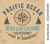 vintage sailing typography for... | Shutterstock .eps vector #1026420340