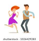 couple dancing. dance party... | Shutterstock .eps vector #1026429283