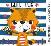 cute cartoon fox in a forest on ... | Shutterstock .eps vector #1026429763