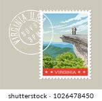 virginia postage stamp design.... | Shutterstock .eps vector #1026478450