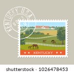 kentucky postage stamp design.... | Shutterstock .eps vector #1026478453