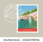 michigan postage stamp design.... | Shutterstock .eps vector #1026478456