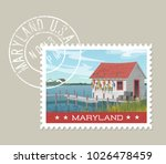 maryland postage stamp design.... | Shutterstock .eps vector #1026478459