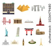 sights of different countries... | Shutterstock . vector #1026479680